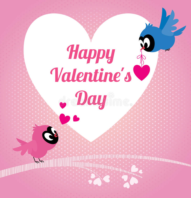 Valentines heureuses d'oiseaux d'amants illustration stock