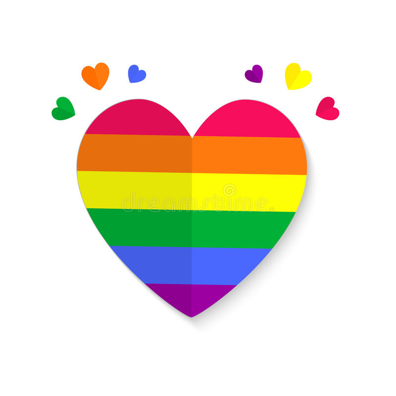 Illustration of a gay symbol with rainbow colors on white