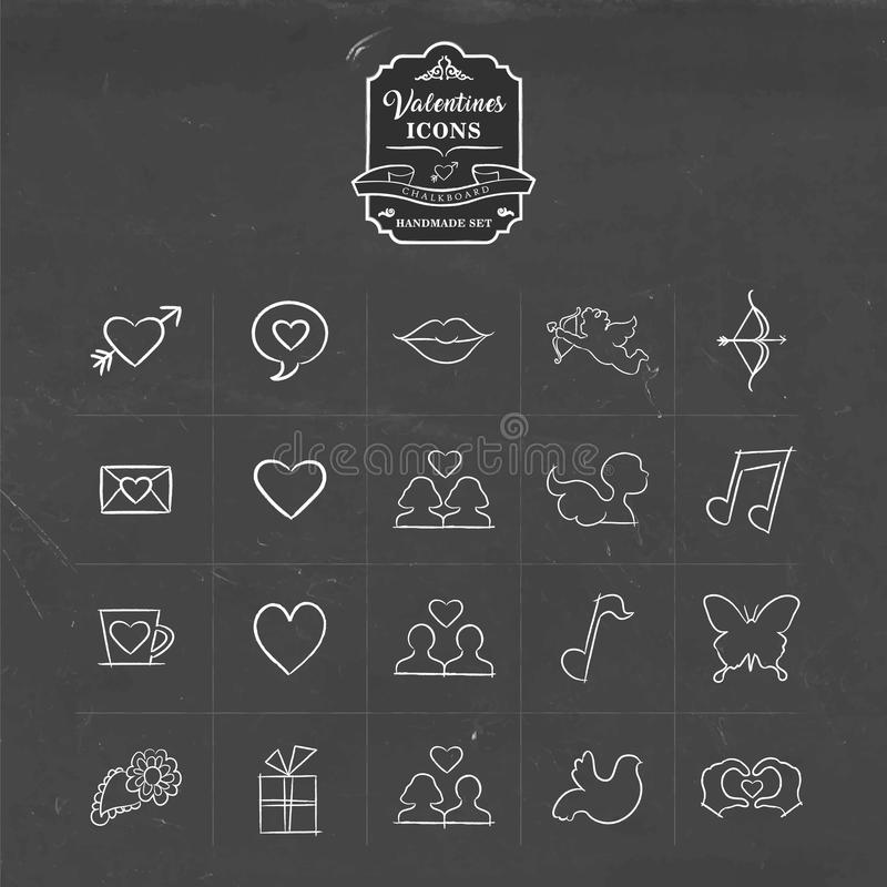Valentines and love hand drawn sketch icon set stock illustration
