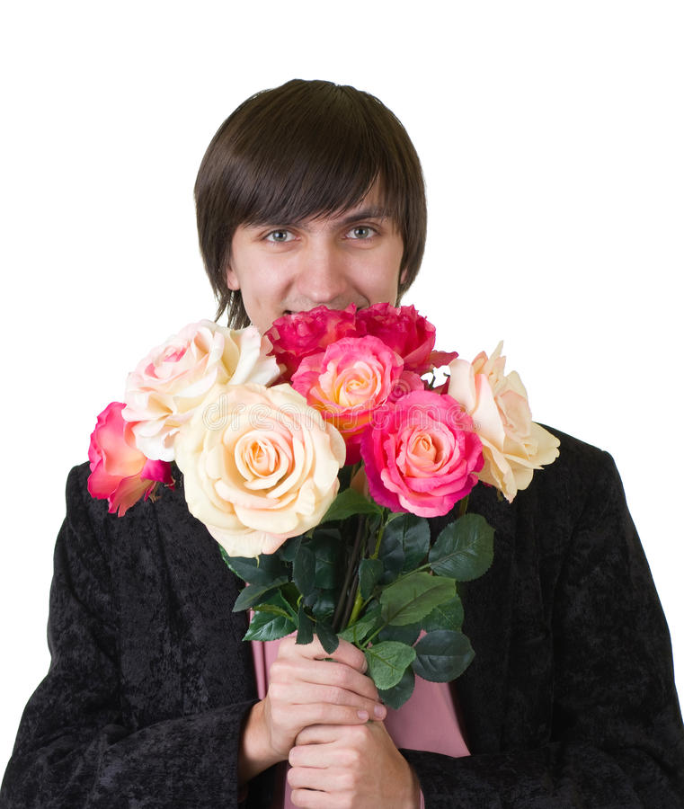 Valentines Man with flowers. Isolated on white background stock photo