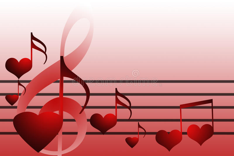 Valentines music hearts. On the red whitebackground stock illustration