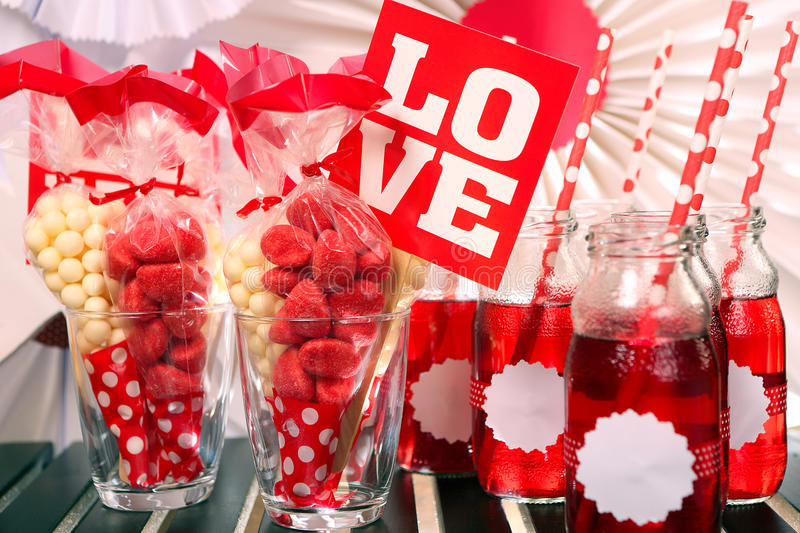 Valentines party set on the table.  stock photos