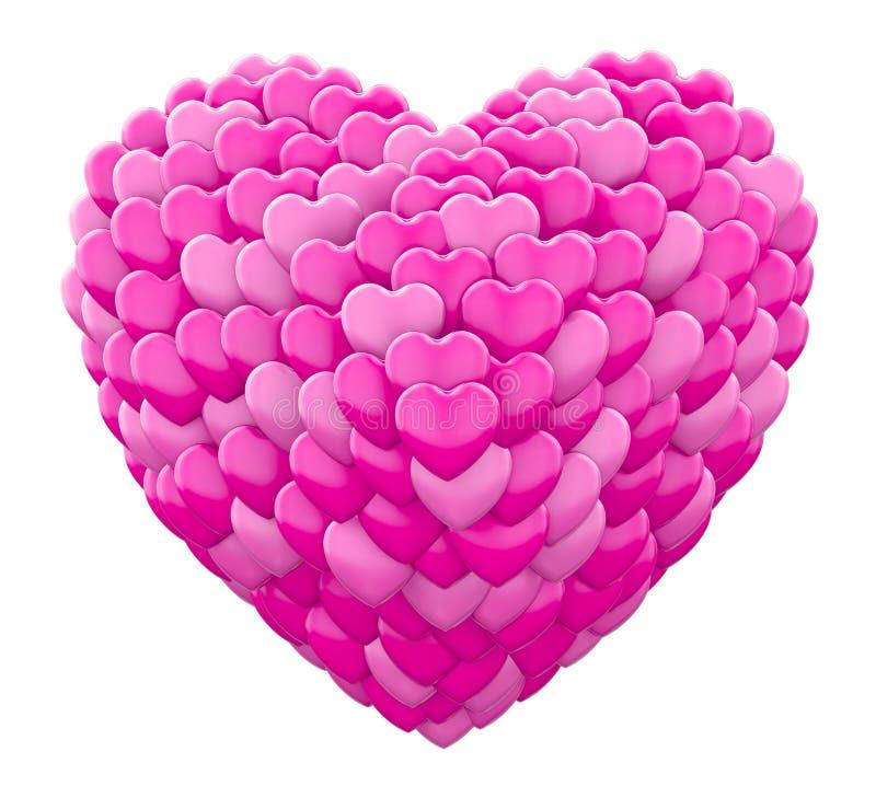 Valentines. Pink heart love 3d rendering royalty free illustration