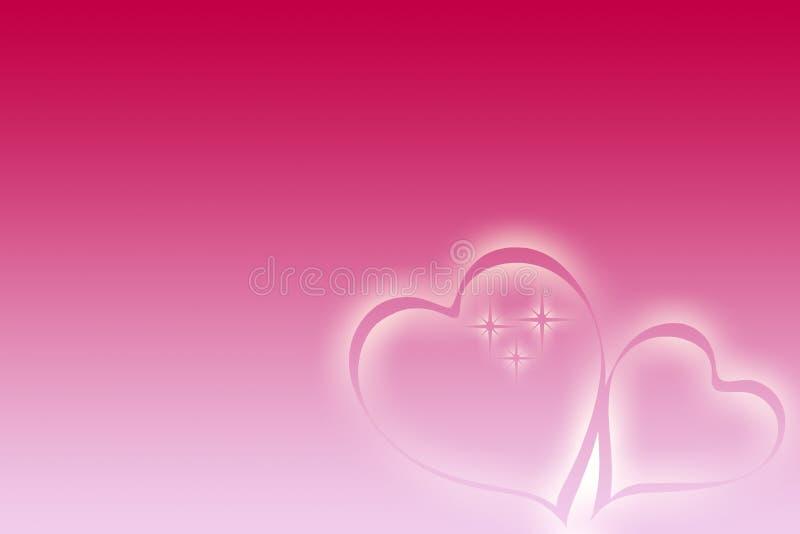 Valentines ribbon hearts with stars. Valentines ribbon heart on the pink background with stars royalty free illustration