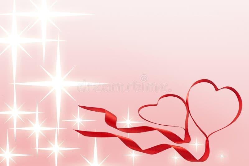 Valentines ribbon hearts with stars. Valentines ribbon heart on the pink background with stars stock illustration