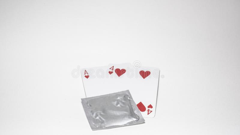 Valentines`s day, Number Fourteen card number, Condom Prevent Pregnancy Contraception Valentines safe sex young love concept,. stock photos