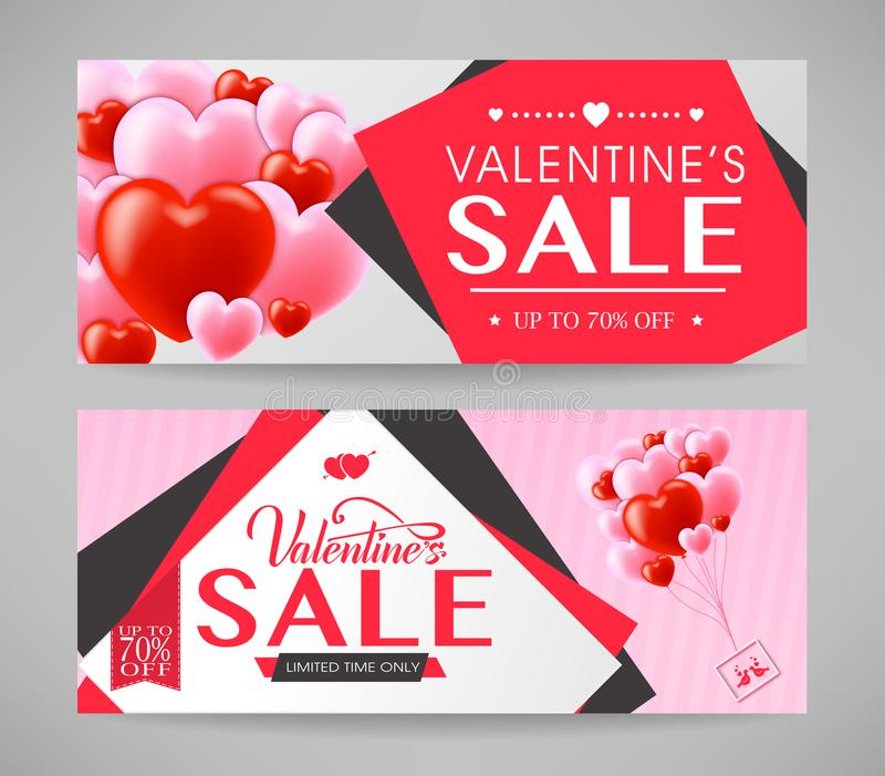 Valentines Sale with Pink and Red Hearts Promotional Banners Set vector illustration