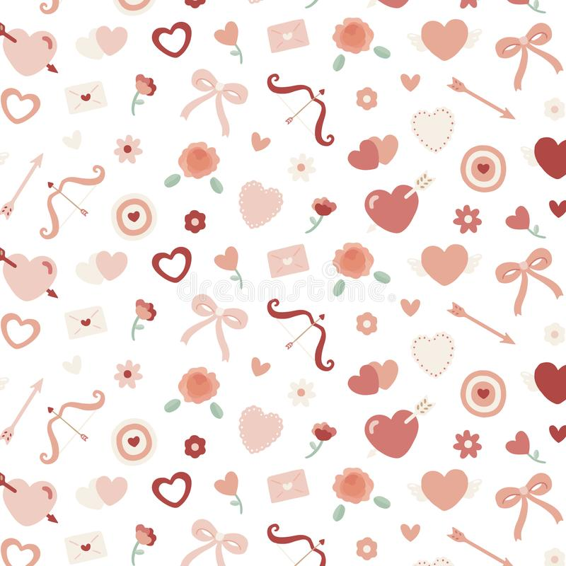 Valentines seamless pattern with heart, flower,bow,Cupid`s royalty free illustration