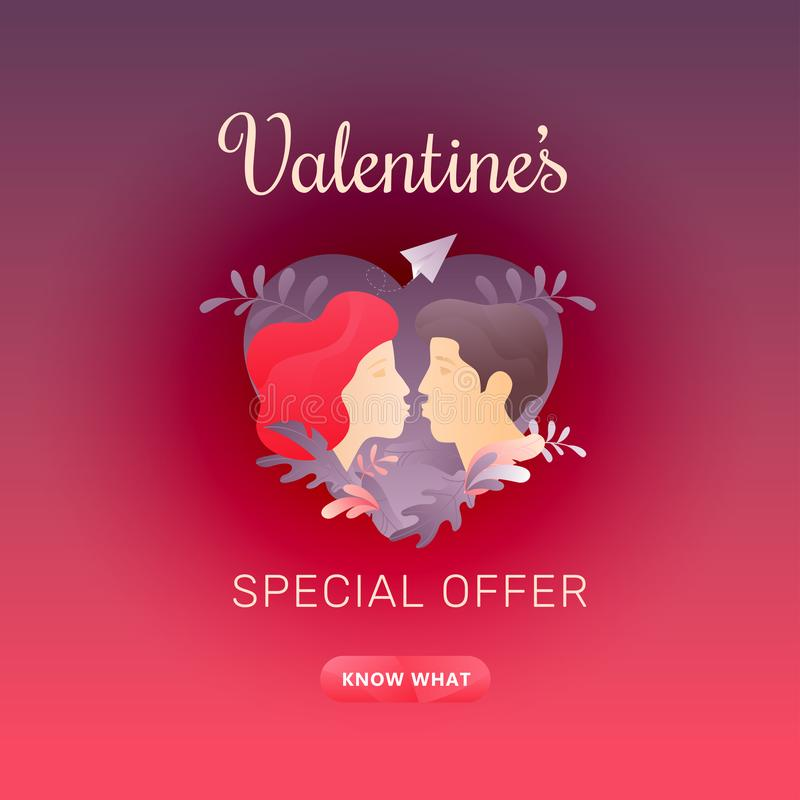 Valentines Special Offer Banner. Valentine`s day square red sale promotion banner with Valentine`s Special Offer words, kissing couple profiles and call-to vector illustration