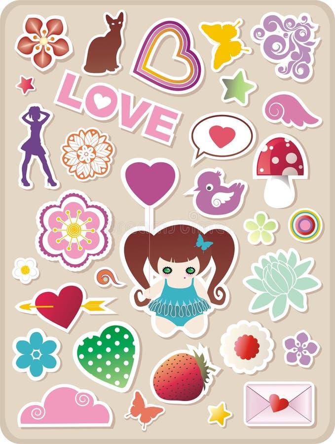 Valentines stickers stock illustration