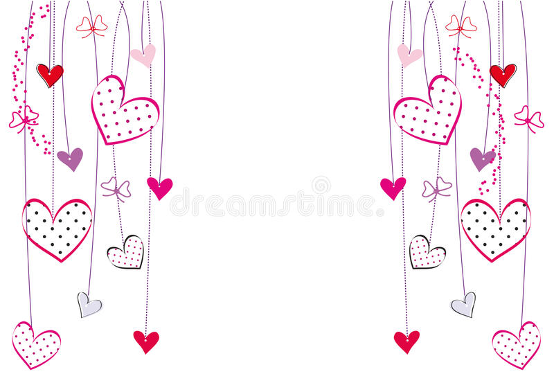 Valentines or wedding card. Cute card with hearts on special day stock illustration