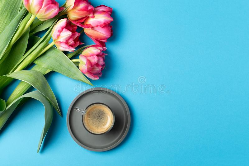 Valentines Womens mothers day concept 8 March Spring. Lifestyle blog - pink tulips, cup of espressso coffee on blue background, copy space, top view royalty free stock image