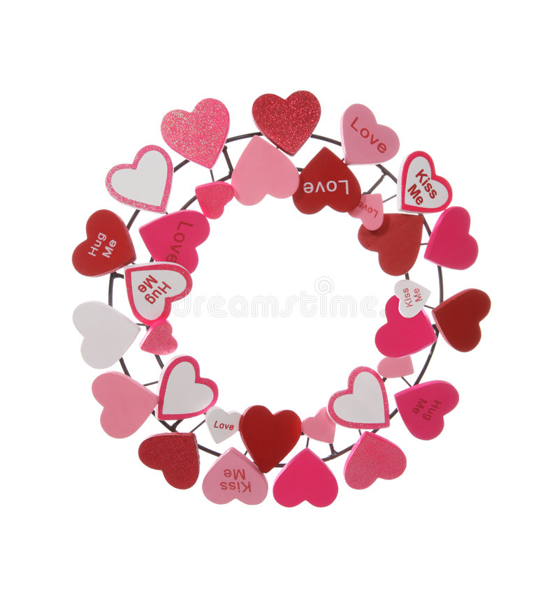 Valentines Wreath. A Valentines Heart Wreath isolated over a white background royalty free stock images