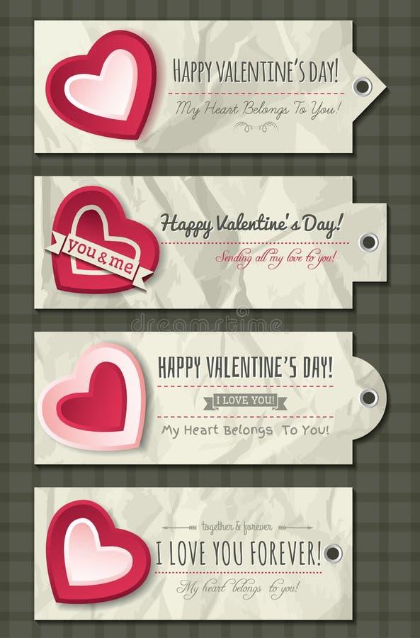 Valentinetiketter med dekorativa hjärtor vektor illustrationer