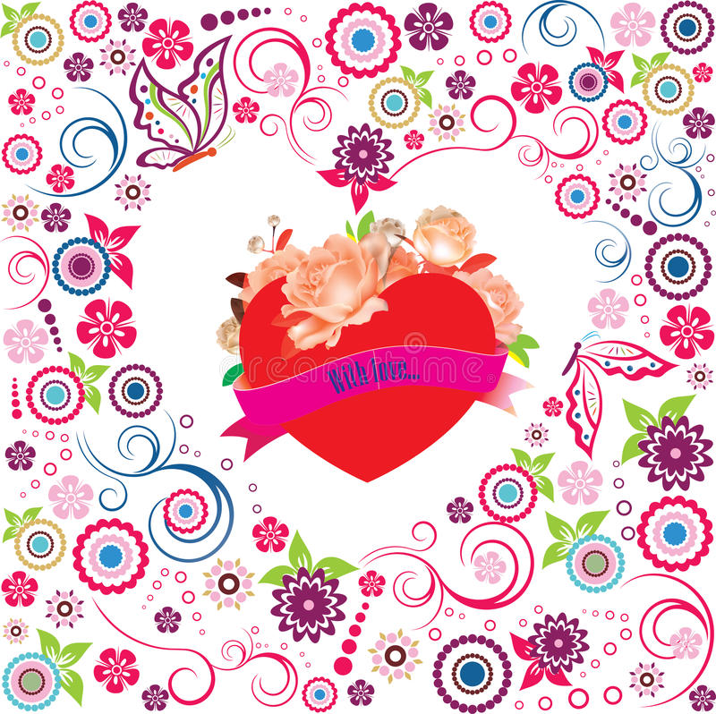 Valentingarnering med hjärta arkivbilder