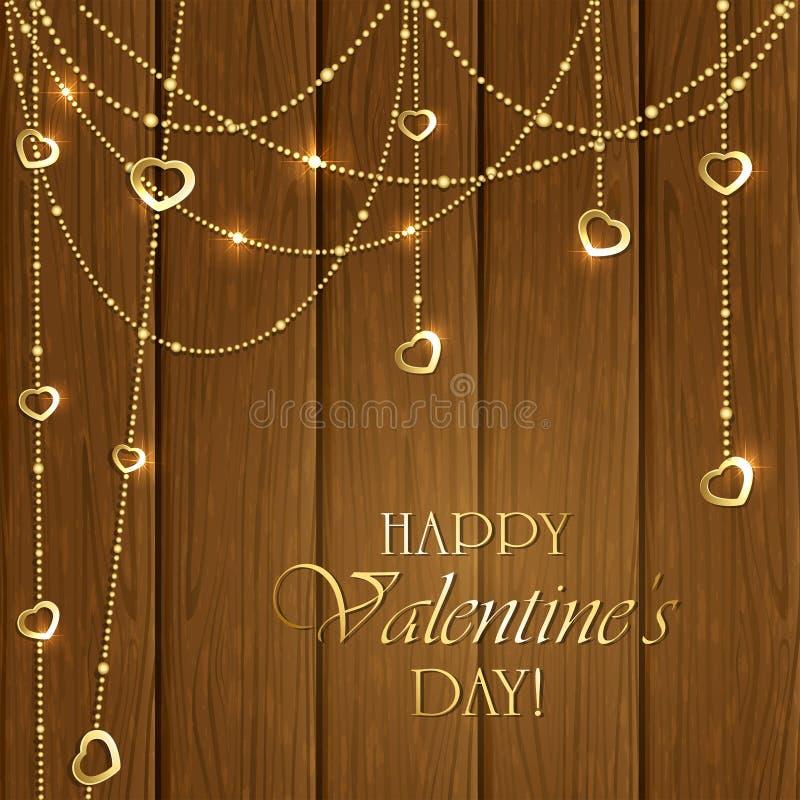 Valentingarneringar på en träbakgrund vektor illustrationer
