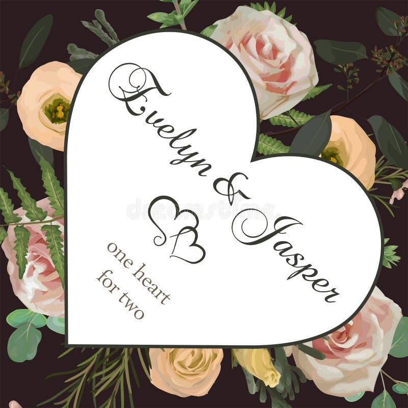Valentinhälsningen, inviterar kortet Vektor med blomma- och sidamodellbakgrund Rosa rosa blommor, eustomakräm, brunia, gräsplan royaltyfri illustrationer