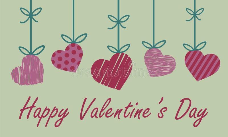 Valentinhälsningkort med röd och rosa hjärta med band nad vektor illustrationer