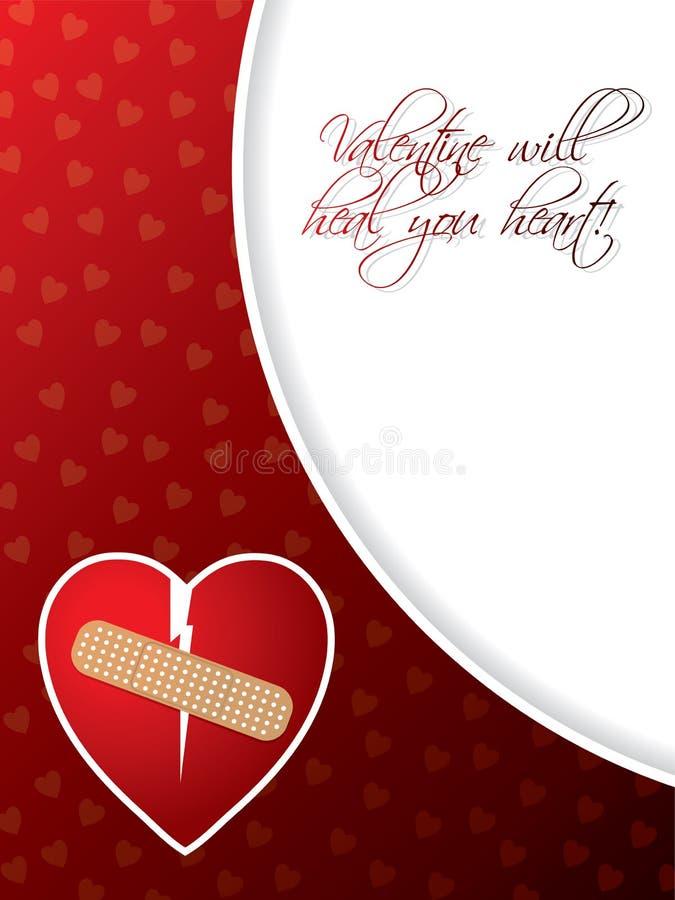 Valentinhälsningskort med broken hjärta royaltyfri illustrationer