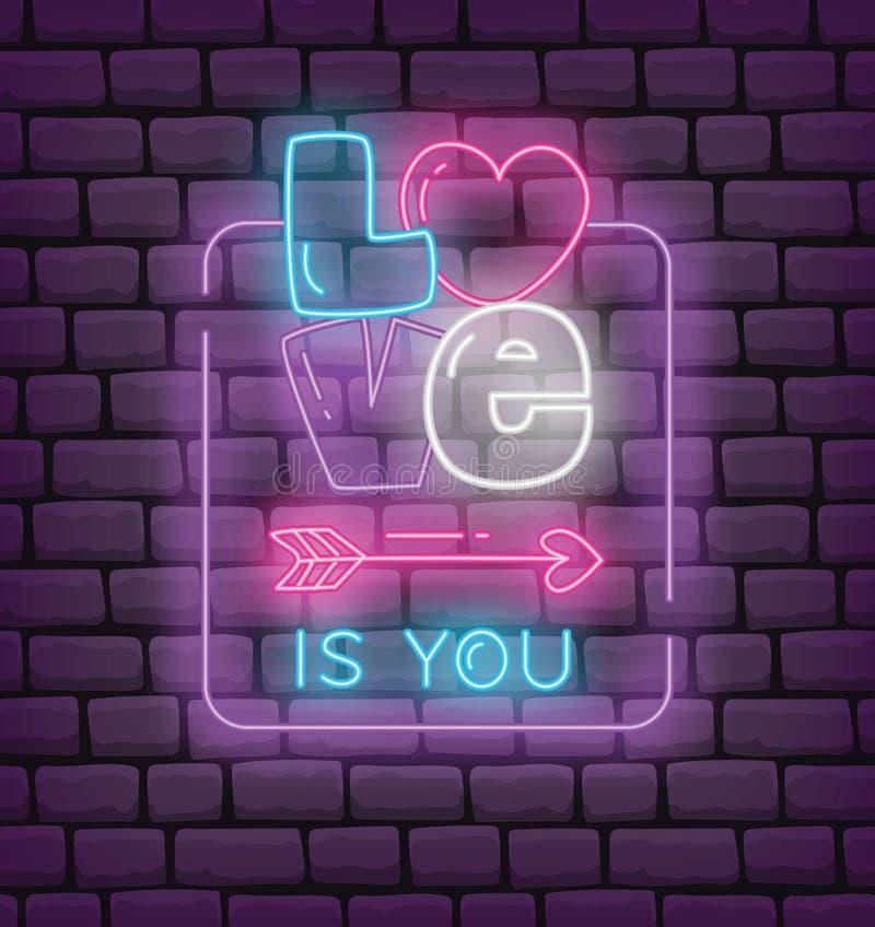 Valentinh?lsning i illustration f?r vektor f?r neoneffektstil stock illustrationer