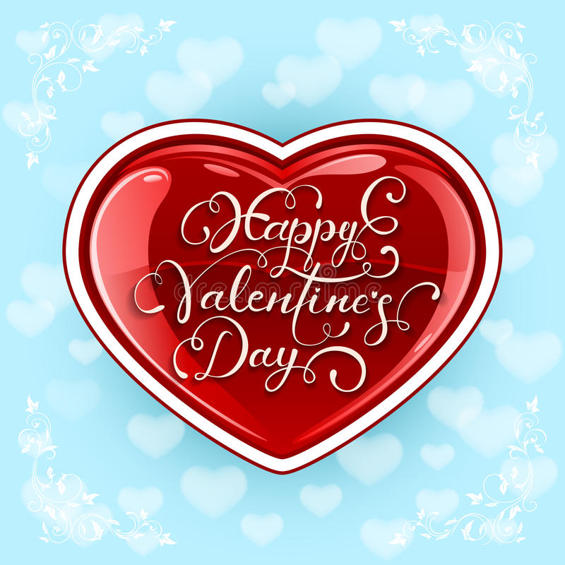 Valentinhjärta på blå bakgrund stock illustrationer