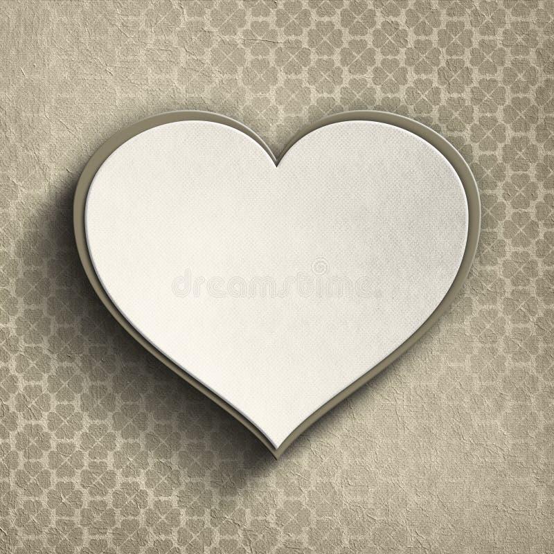 Valentinhjärta på mönstrad bakgrund vektor illustrationer
