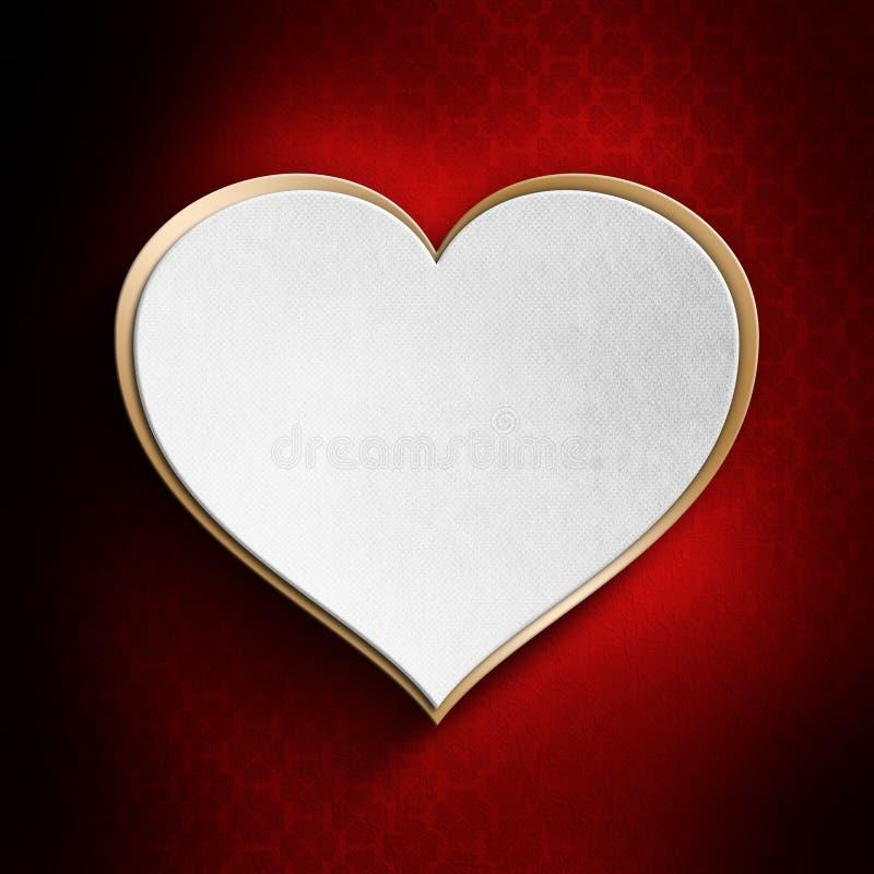Valentinhjärta på mönstrad bakgrund stock illustrationer