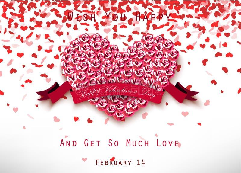 Valentinhjärtabegrepp av rosor med det rosa bandet på vit bakgrund vektor illustrationer