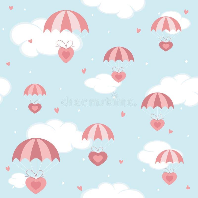 Valentinhjärtor med rosa färger hoppa fallskärm på bakgrund för blå himmel royaltyfri illustrationer