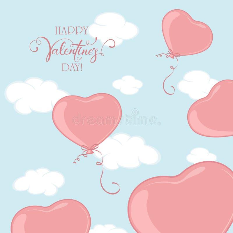 Valentinhjärtor på bakgrund för blå himmel stock illustrationer