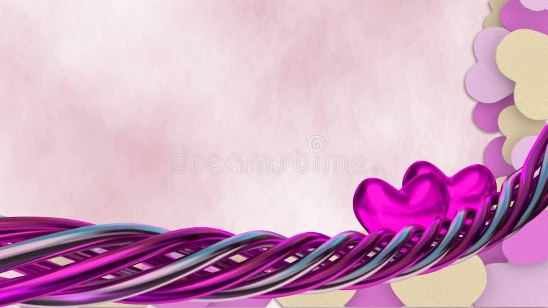 Valentinillustration med hjärtaformer stock illustrationer