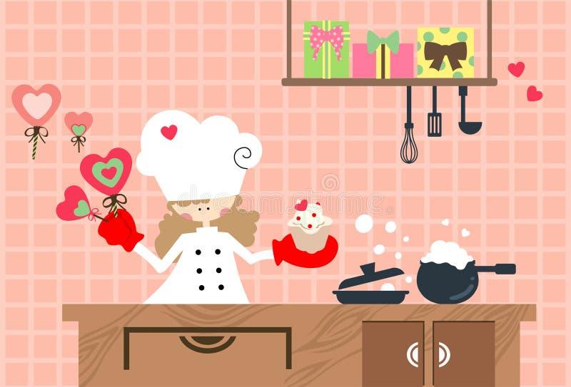 Valentinkök stock illustrationer
