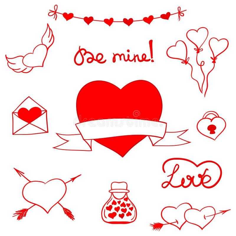 Valentinklottervektor stock illustrationer