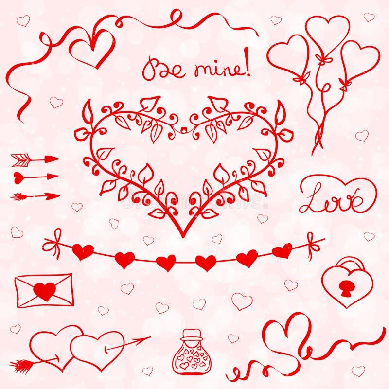 Valentinklottervektor vektor illustrationer