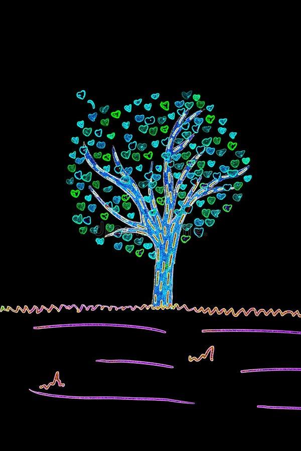Valentinkort med den filtrerade teckningen av trädet och hjärtor royaltyfri foto