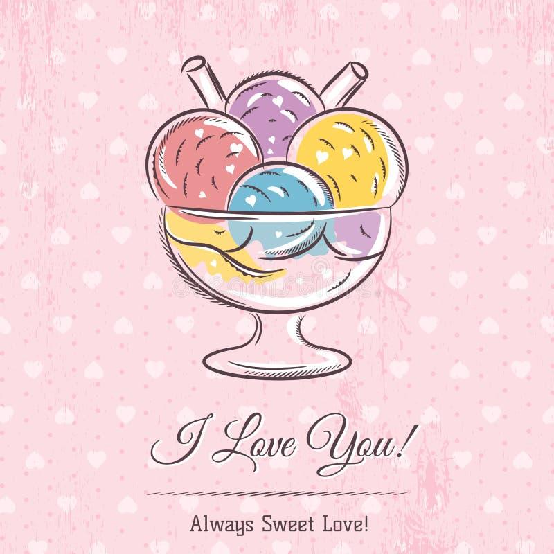 Valentinkort med glass och önskatext royaltyfri illustrationer