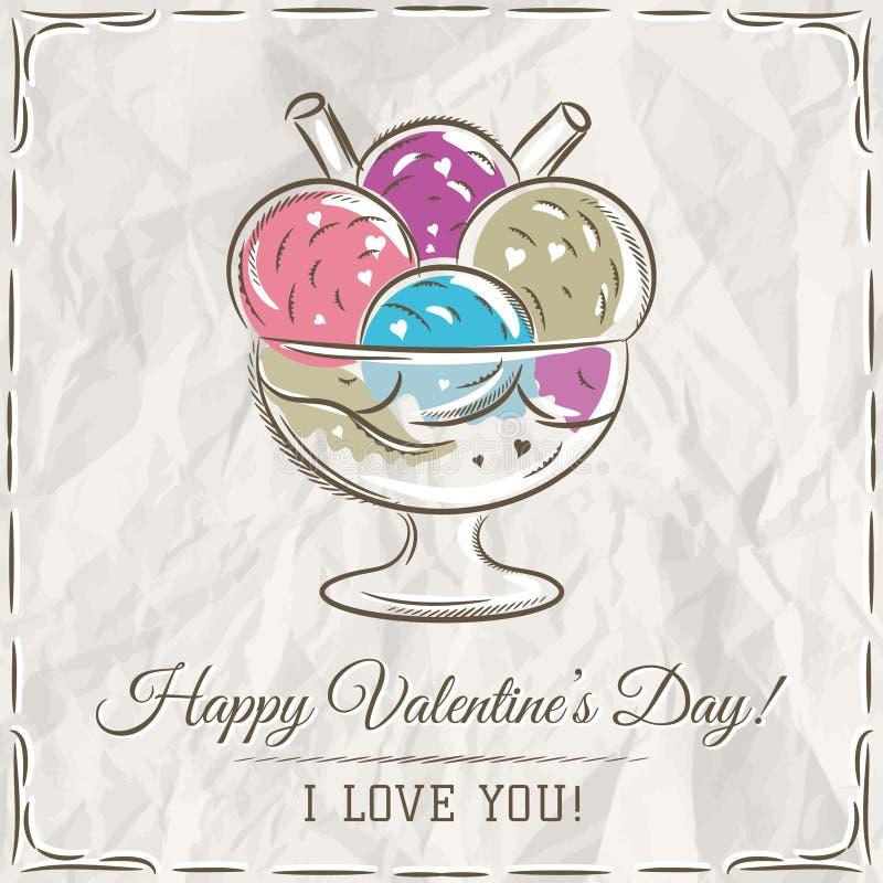 Valentinkort med glass och önskatext stock illustrationer