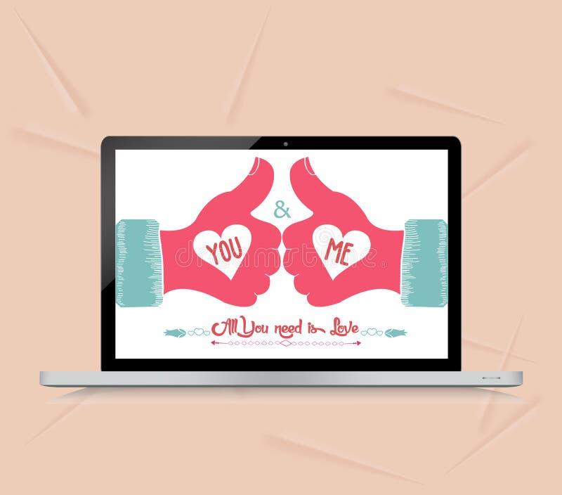 Valentinkort med hälsning med som vektor illustrationer