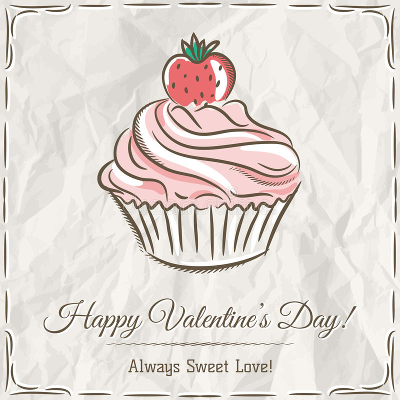 Valentinkort med jordgubbemuffin stock illustrationer