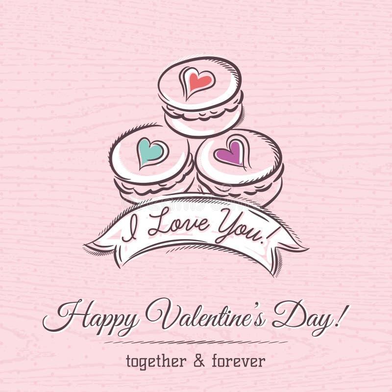 Valentinkort med makaroni och önskatext stock illustrationer