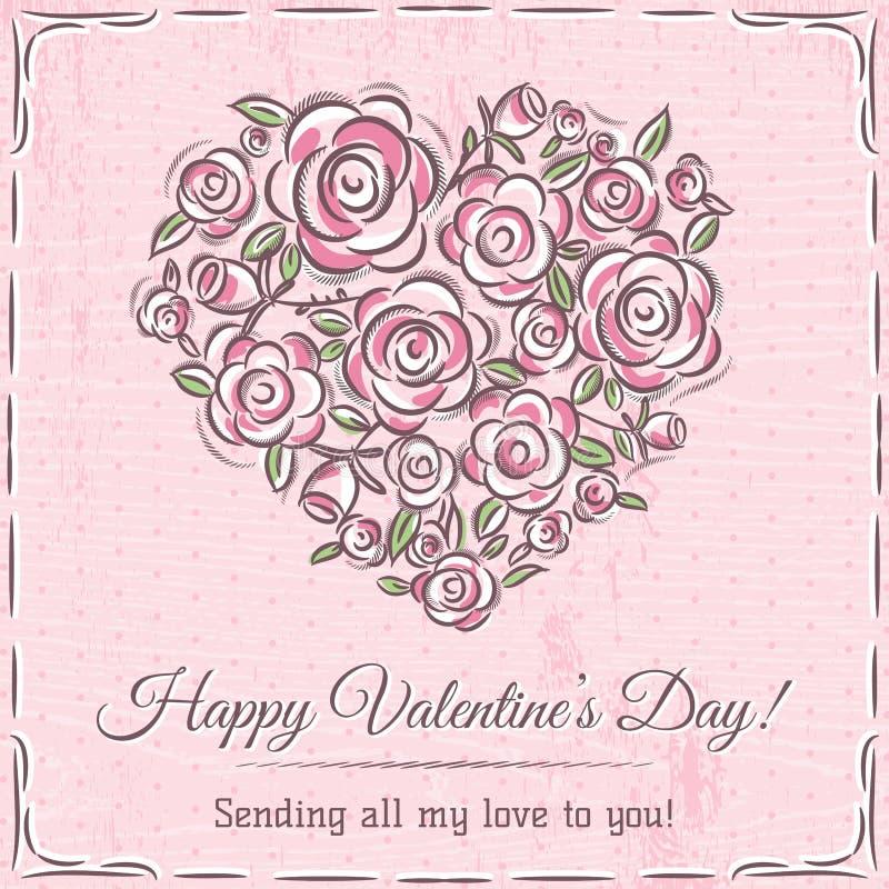Valentinkortet med hjärta av blommor och önskaen smsar stock illustrationer