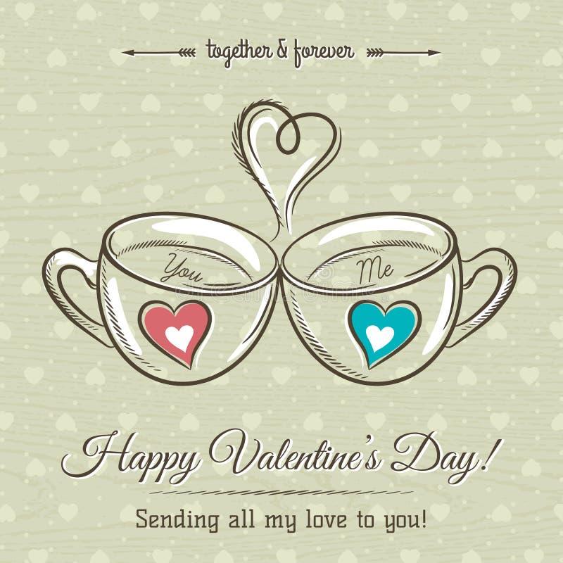 Valentinkortet med två kopp av den varma drinken och önskaen smsar royaltyfri illustrationer