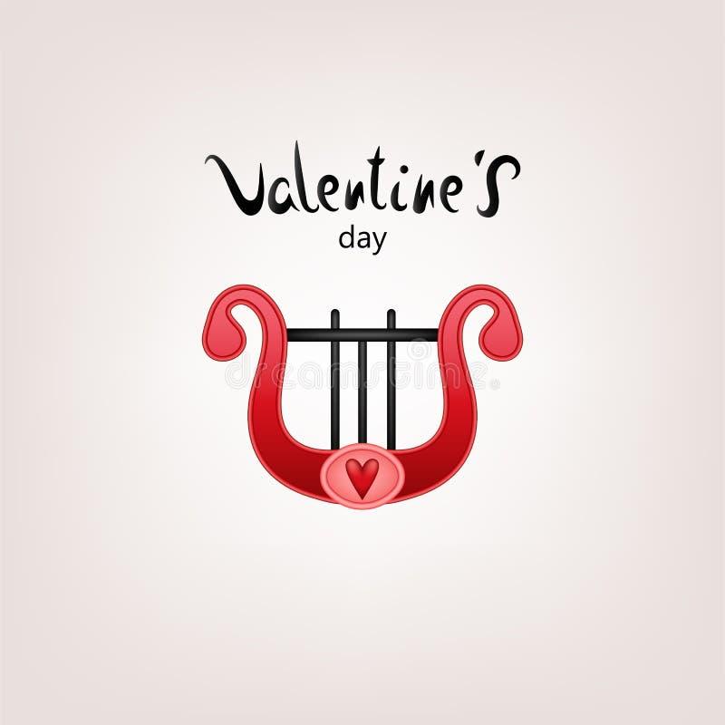 Valentinkortharpa vektor illustrationer