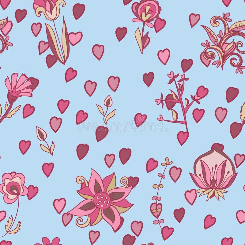 Valentinmodell med hjärtor, blommor stock illustrationer