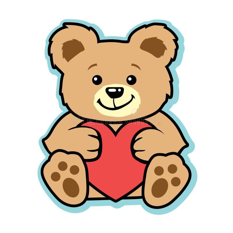 Valentinnallebjörn med röd hjärta stock illustrationer