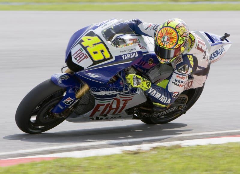 Valentino italiano Rossi da equipe de Fiat Yamaha fotos de stock royalty free