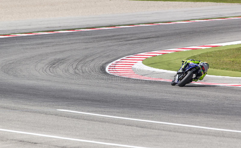 Valentino Rossi of Yamaha Factory team racing royalty free stock photo