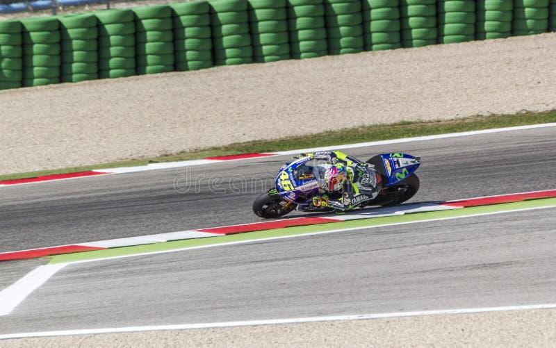 Valentino Rossi of Yamaha Factory team racing stock photo