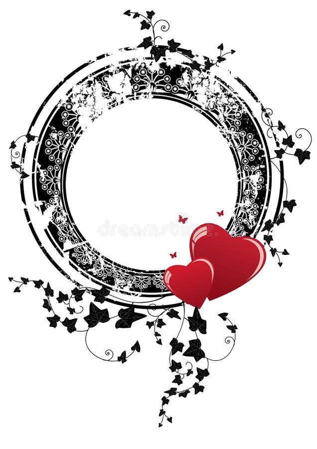 Valentinram med hjärtor och murgrönan stock illustrationer