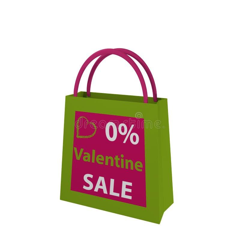 Valentins bag in green-pink with the lettering Valentin Sale. 3d render stock illustration
